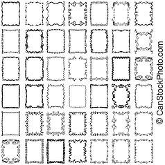vector, lijstjes, randjes, set, verzameling