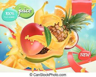 vector, malen, vermalen, mango, verpakken, papaya., realistisch, gespetter, ontwerp, juice., fruits., ananas, banaan, 3d