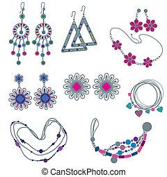 vector, mode, juwelen, set