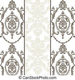 vector, model, set, ornament, damast