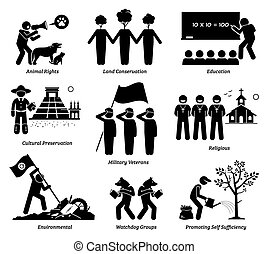vector, nonprofit, organisatie, welzijn, set., stichting, npo