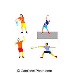 vector, ontwerp, badminton, plat, speler, illustratie