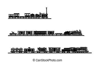 vector, oud, trein, achtergrond, set, witte