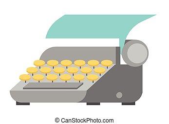 vector, papier, blad, illustration., typemachine