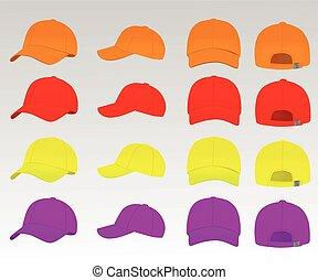 vector, pet, set, honkbal, kleurrijke