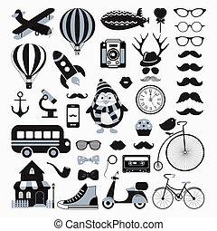 vector, pictogram, set, retro, ouderwetse