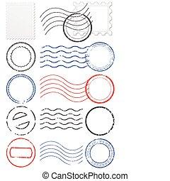 vector, poststempels, set, stamps., &