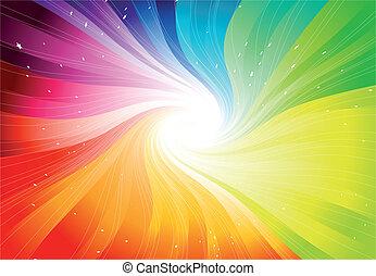 vector, regenboog, starburst, gekleurde