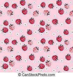 vector, rooskleurig, achtergrond, pattern., rode bes, bleek, seamless, illustration.