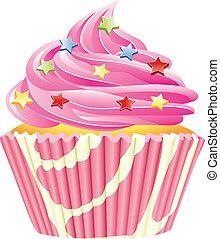 vector, roze, cupcake