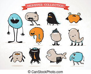 vector, schattig, illustraties, set, monsters