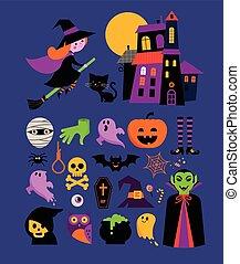 vector, schattig, set, halloween, pictogram