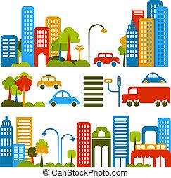 vector, schattig, straat, illustratie, stad