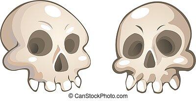 vector, schedels, spotprent
