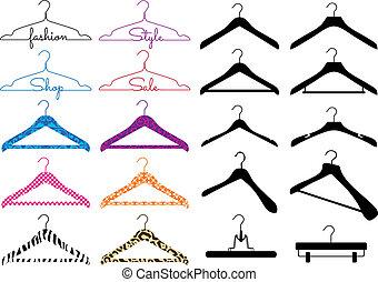 vector, set, hanger, kleren