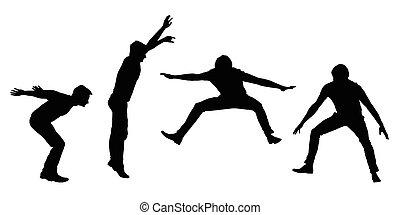 vector, set, motie, jonge, vrijstaand, silhouettes, springt, zwarte achtergrond, witte , man