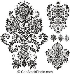 vector, set, ornament, damast