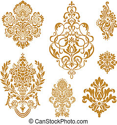 vector, set, ornament, goud, damast