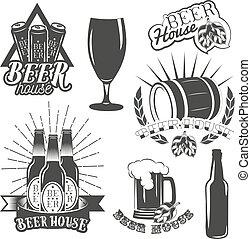vector, set, ouderwetse , etiketten, kroeg, bier, ambacht, brouwen, logo., style.