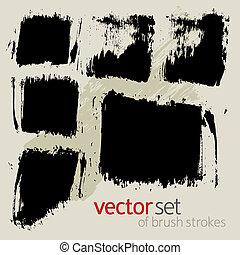 vector, set, slagen, borstel, 2