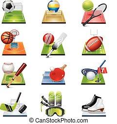 vector, set, sportende, pictogram