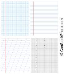 vector, set, voorwerpen, textuur, papier, achtergrond, of