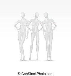 vector, set, vrijstaand, vrouwlijk, mannequins