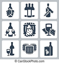 vector, set, winery, iconen