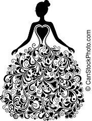 vector, silhouette, jurkje, mooi