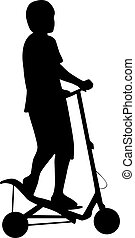 vector, silhouette, spacescooter