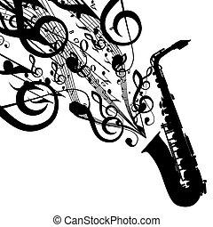 vector, silhouette, symbolen, saxofone, muzikalisch