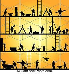 vector, silhouette, werken, arbeider, illustratie, bouwsector