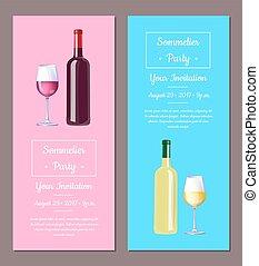 vector, sommelier, feestje, illustratie, uitnodiging