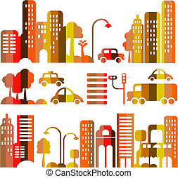 vector, stad, avond, schattig, straat, illustratie