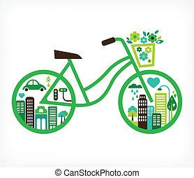 vector, stad, -, fiets, groene