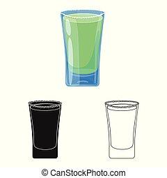 vector, stock., glas, duidelijk, pictogram, vrijstaand, set, voorwerp, symbool., water