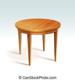vector, tafel, hout, ronde, lege