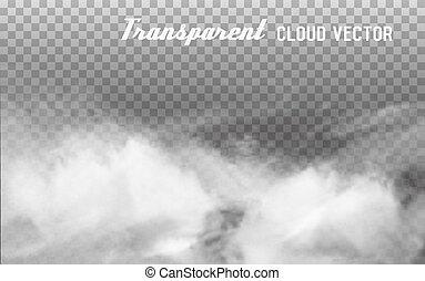 vector, transparant, achtergrond., wolken