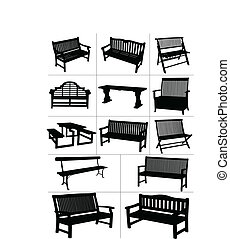 vector, tuin, groot, set, benches.