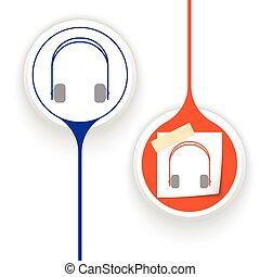 vector, twee voorwerpen, headphones