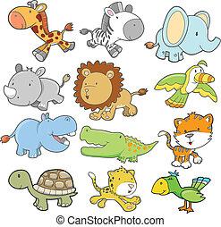 vector, vastgesteld ontwerp, safari, dier
