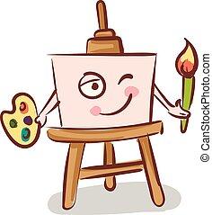 vector, vasthouden, achtergrond, schildersezel, doek, witte , kleur, borstel, illustratie
