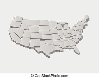 vector, verenigde staten, kaart, 3d