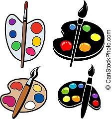 vector, verzameling, blobs, houten, palettes, verf , kunst, borstels