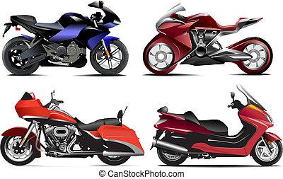 vector, vier, moderne, illustratie, motorcycle.