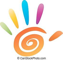 vector, vijf, vingers, pictogram, hand