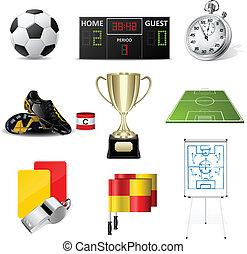 vector, voetbal, iconen