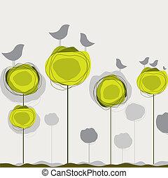 vector, vogels, boom., achtergrond, illustratie