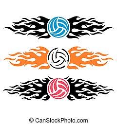 vector, voorbeelden, logo, volleyball bal, het vlammen