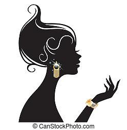 vector, vrouw, illustratie, beauty